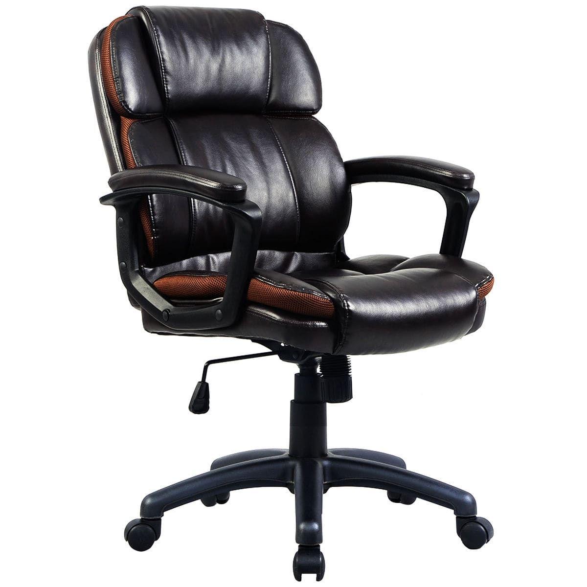 Costway ergonomic pu leather midback executive computer desk task