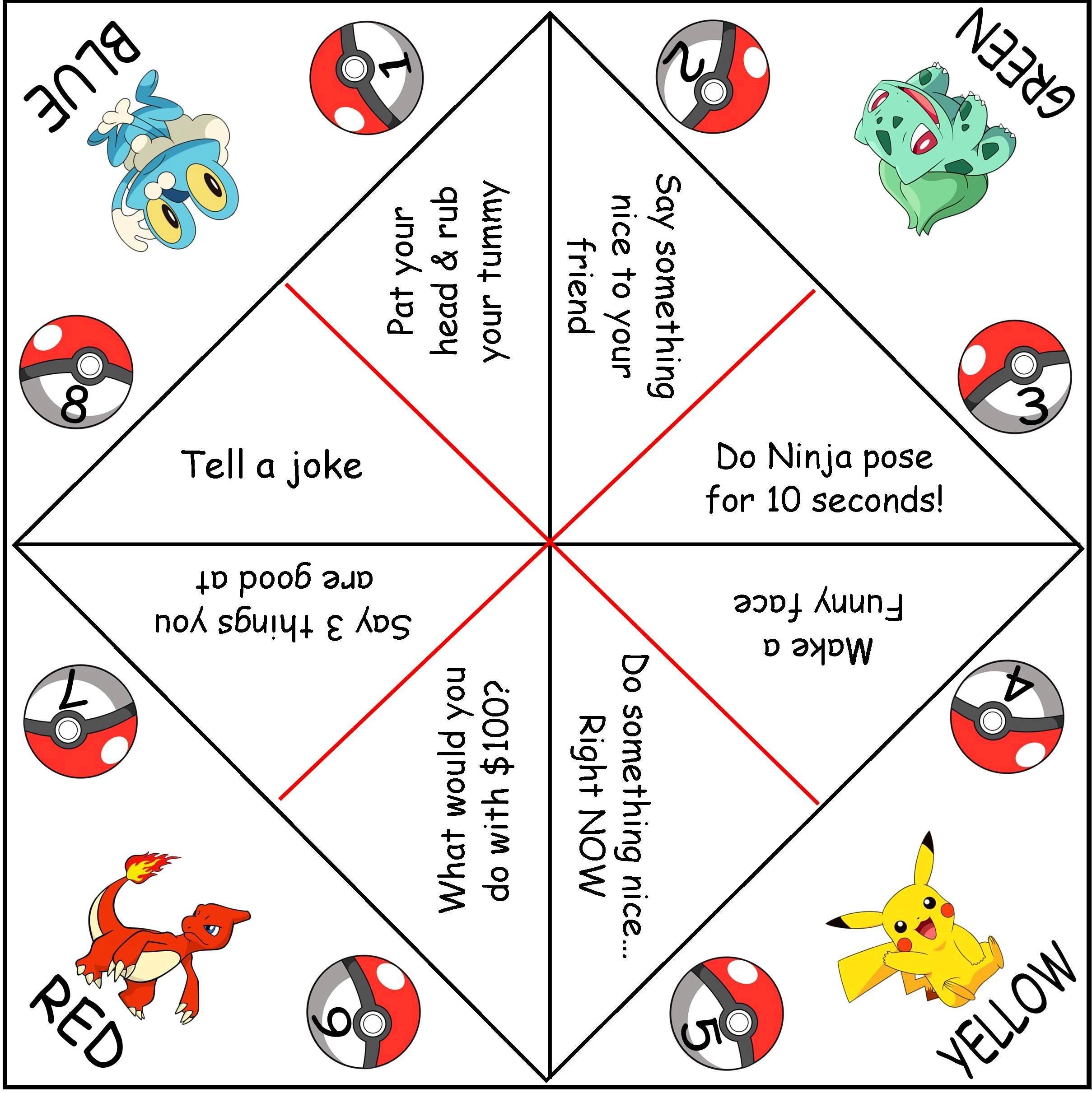 Pokemon Cootie Catchers Aka Paper Fortune Tellers