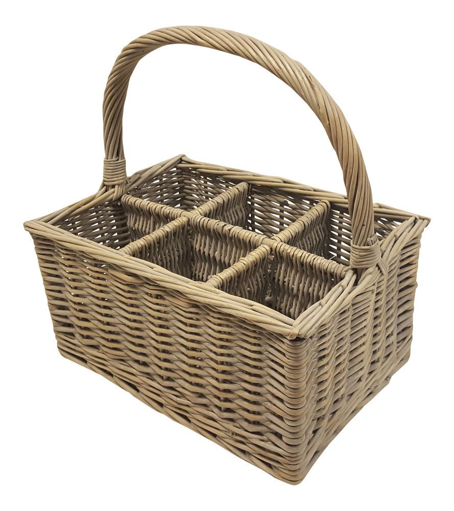 BOTTLE CARRIER WICKER BASKET WINE MILK HANDLE 6 SECTIONS WASHED RECYCLE CRAFTS