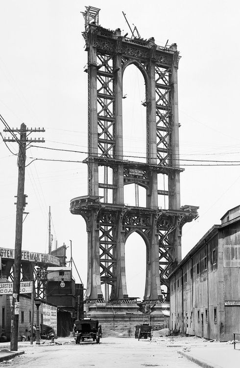 The Manhattan Bridge under construction in 1901, NYC