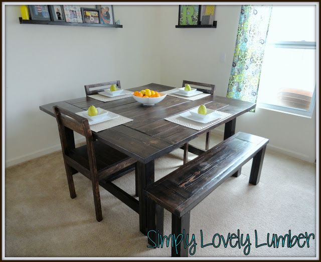 DIY your own Farmhouse Style dining room table, chairs, and bench.  This table looks great with seating for just a family and has tons of room for extra chairs when you want to entertain.