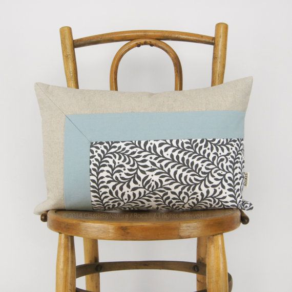 Color Block Pillow in Pastel Blue Natural Gray and White | Fern Print Pillowcase & Colorblock Pillow Case Cushion Cover in Dusty Blue Natural ... pillowsntoast.com