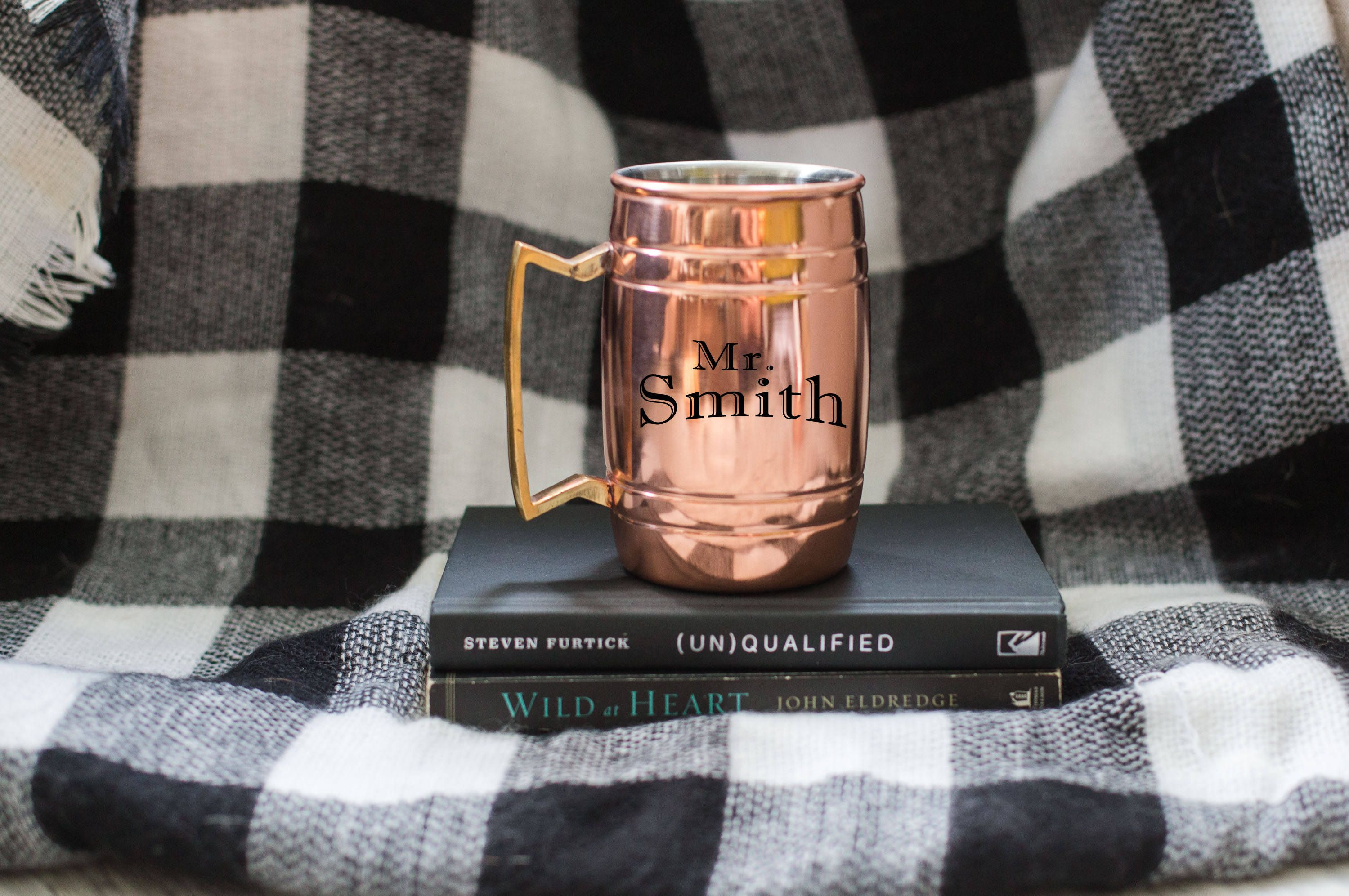 """Jackson Pine Farm, Farmhouse, Farmhome, Personalized Last Name Large Men's """"Mr.""""- Dad Copper Coffee and Tea Mug  - Cup - Gift - Beer Mug - Groomsmen - Father of the Bride Groom"""