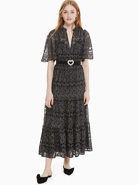 d6466614508b87 Kate Spade Metallic Embroidery Midi Dress