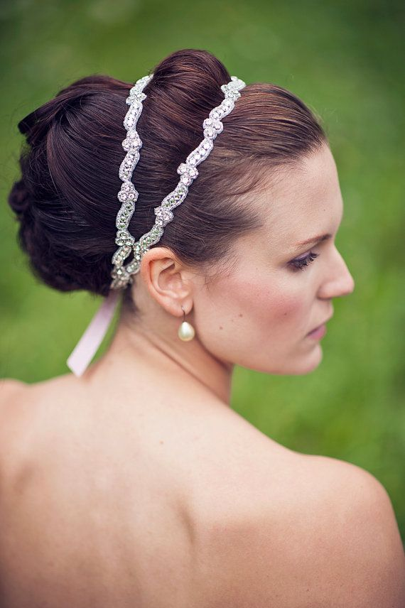 Crystal Bridal Double Ribbon Headband Danielle Is A Couture Silver Beaded Wedding Headpiece