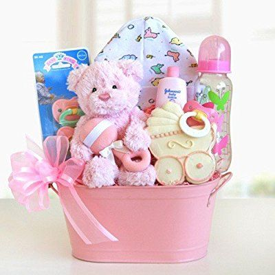 Cuddly Welcome for a Girl Baby Gift Basket | California Delicious