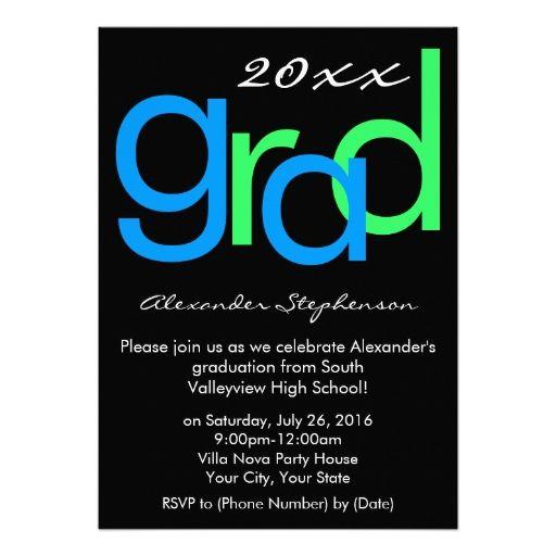 blue green typographic graduation party invitation 2018 graduation