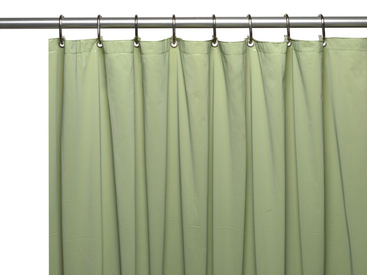 Sage Green 3 Gauge Vinyl Shower Curtain Liner With Metal Grommets