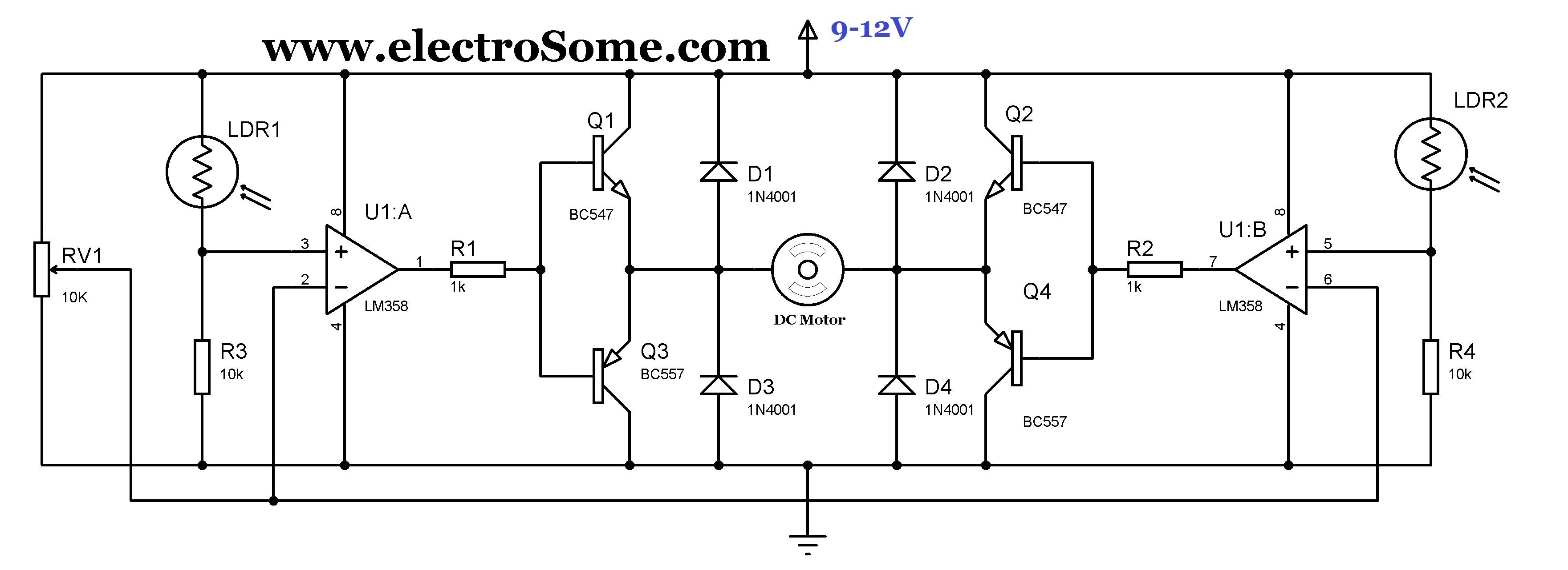 Simple Solar Tracker Circuit Diagram More