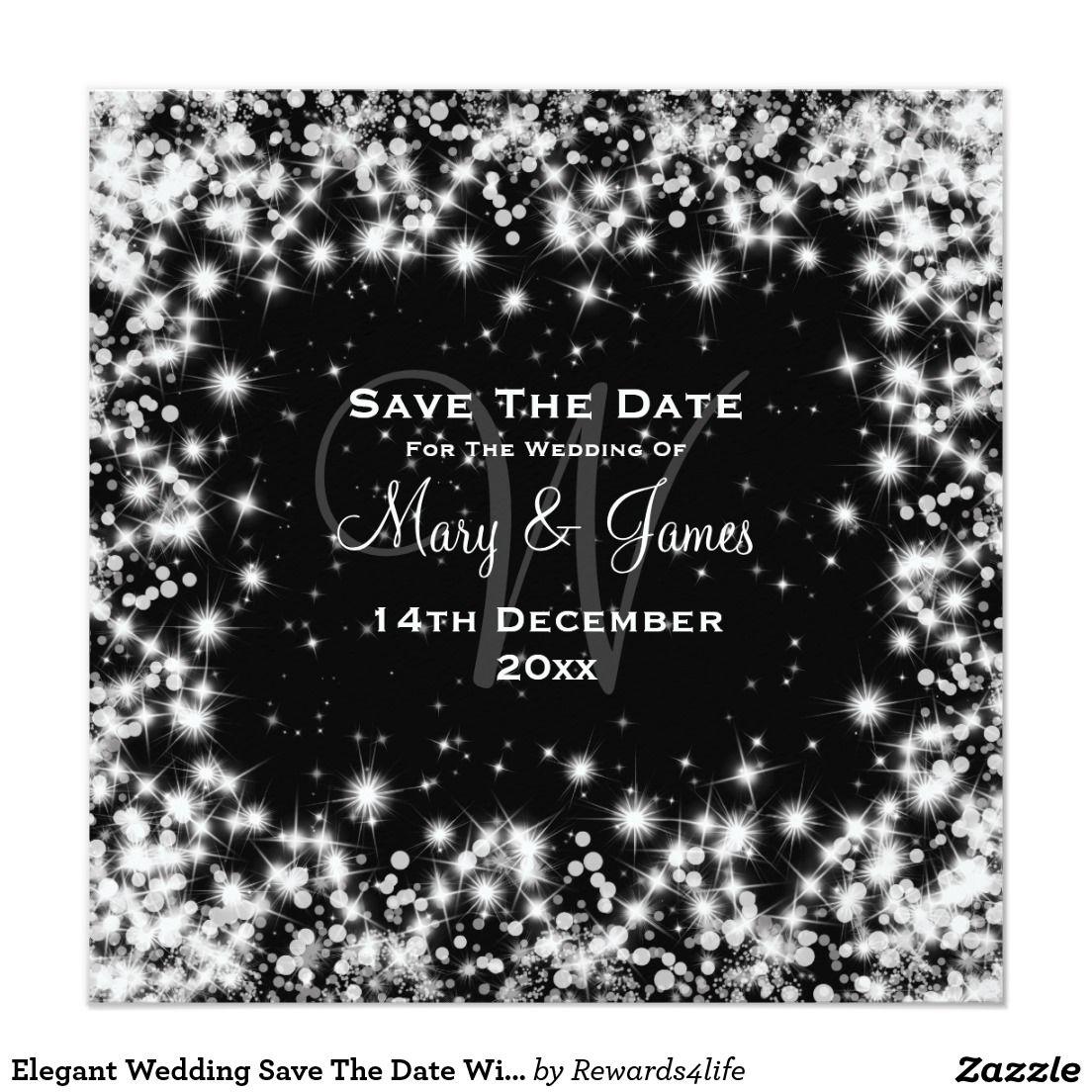 Elegant wedding save the date winter sparkle black