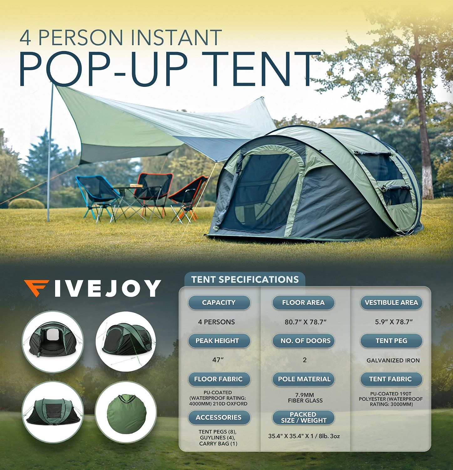 FiveJoy Instant 4-Person Pop Up Tent - Set Up in Lightning Speed Easy & FiveJoy Instant 4-Person Pop Up Tent - Set Up in Lightning Speed ...