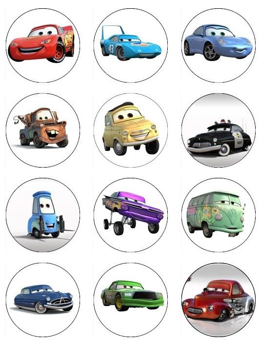 CARS Edible Cupcake Toppers 12 Disney Pixar Cars edible images for ...