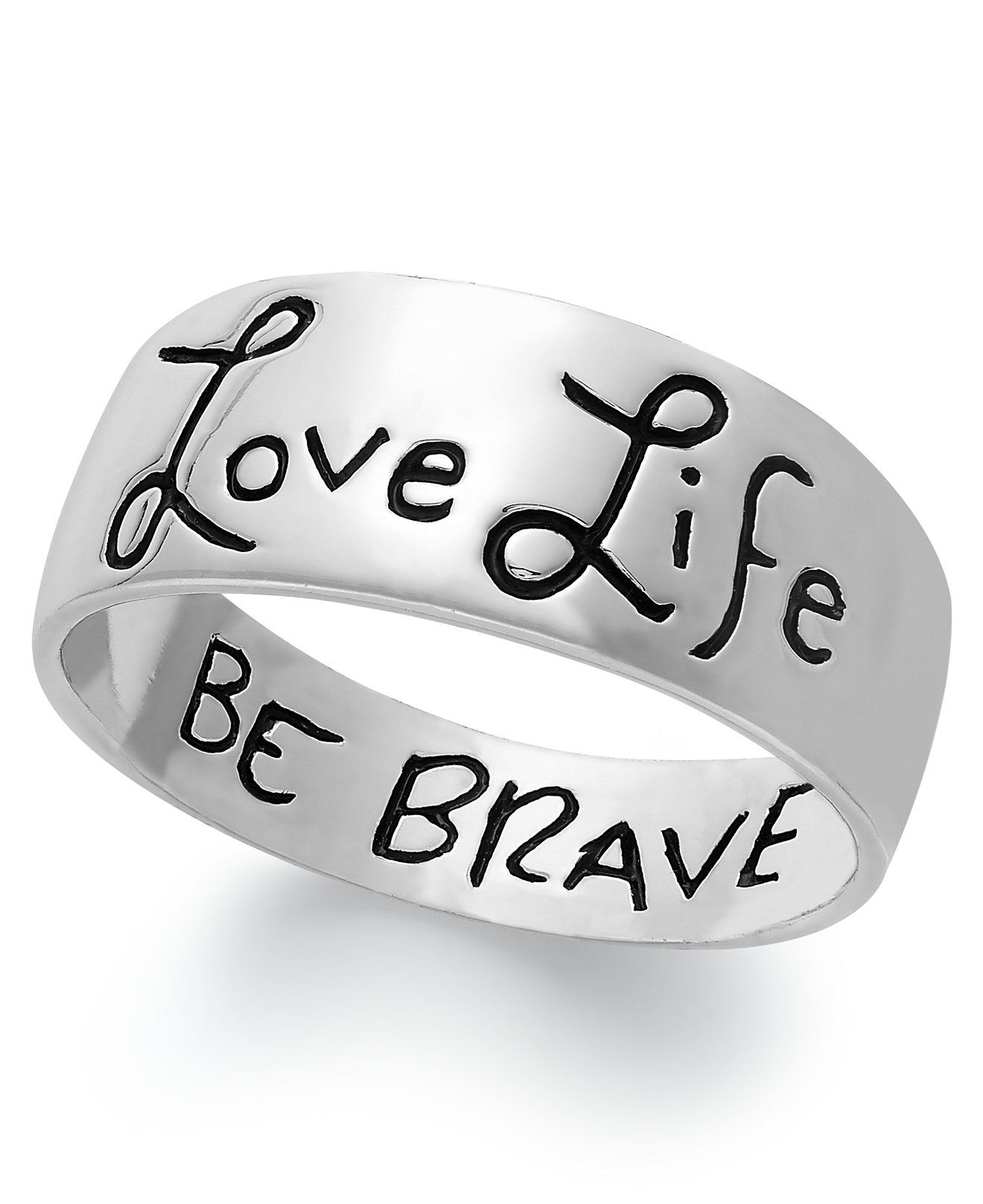 Unwritten Love Life Be Brave Engraved Ring Sterling Silver Ad