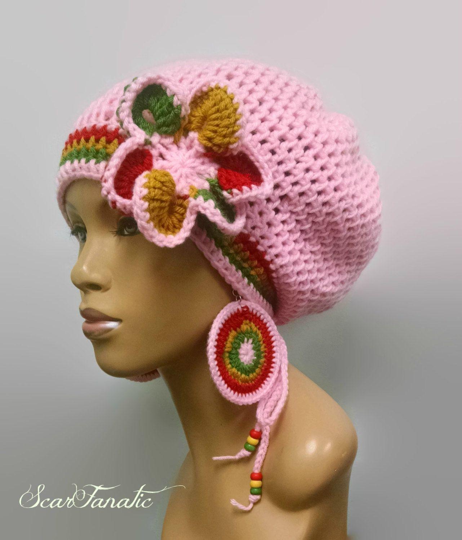 MADE TO ORDER Pink Rasta Hat Slouch hat/dreadlock hat w free crochet ...