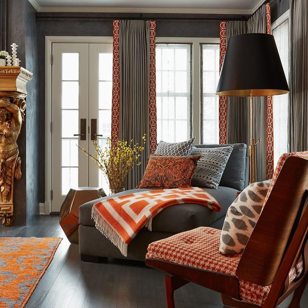 shades of orange create a cool modern room perfect for fall rh pinterest com