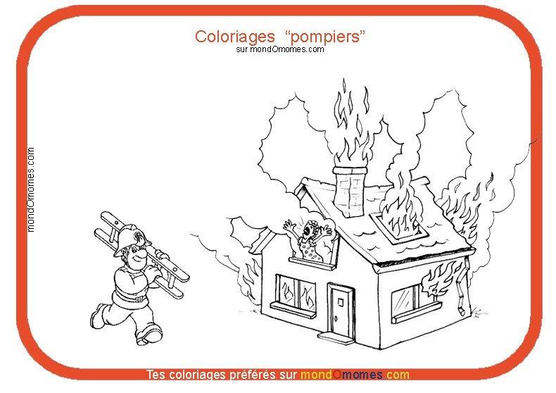 Coloriage pompier et maison en feu premiers secours pompiers pinterest pompier - Coloriages pompiers ...