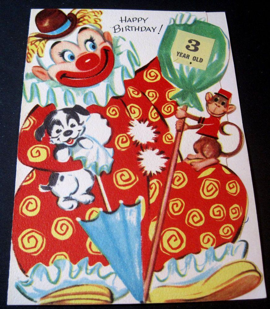 Used vintage birthday card clown puppy monkey 3 year old card used vintage birthday card clown puppy monkey 3 year old card bookmarktalkfo Gallery