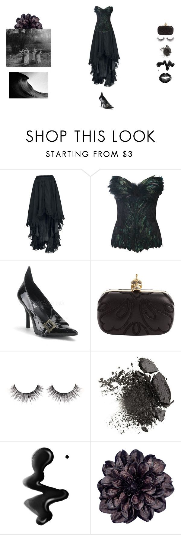 """""""black water"""" by honeydust ❤ liked on Polyvore featuring LEE KLABIN, Alexander McQueen and Dahlia"""