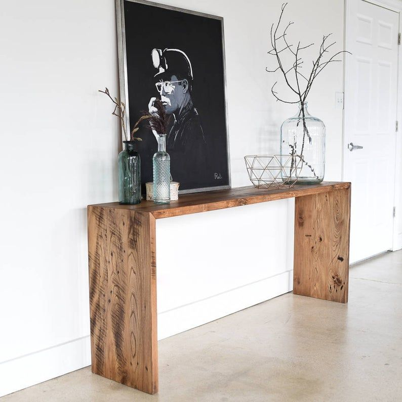 Reclaimed Wood Console Table / Modern Plank Entryw
