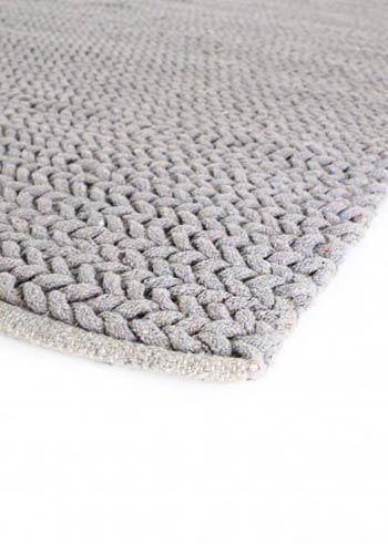 tapis gris tresse style tricot en coton