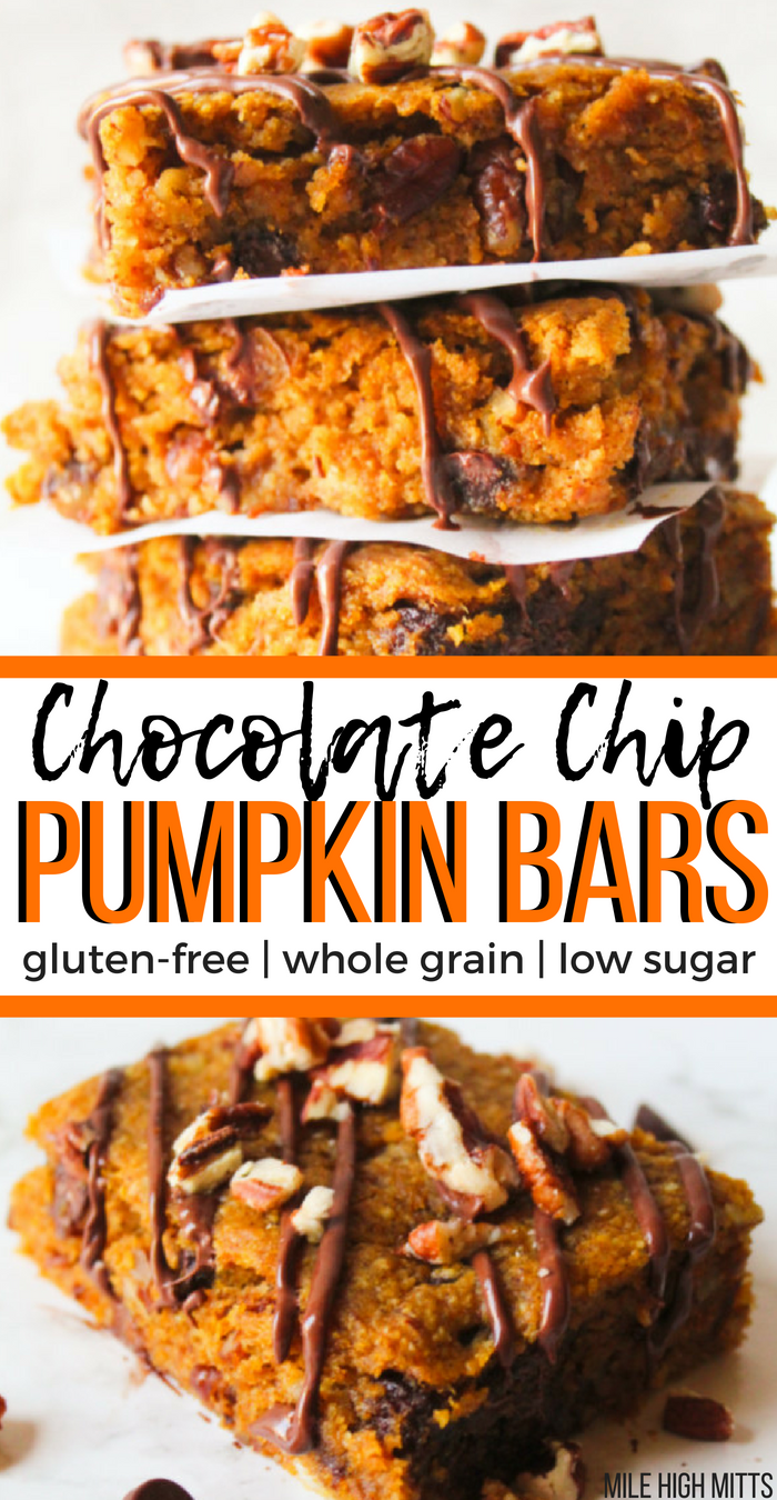 Homemade Chocolate Chip Pumpkin Bars are loaded with