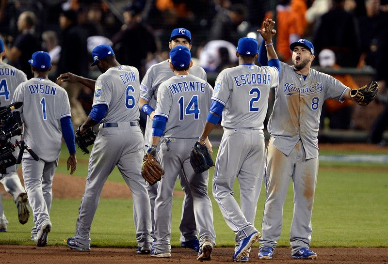 The Kansas City Royals celebrate their win over the San Francisco Giants at the end of Game 3 of baseball's World Series against the Kansas City Royals at AT&T Park in San Francisco, Calif., on Friday, Oct. 24, 2014. (Jose Carlos Fajardo/Bay Area News Group)