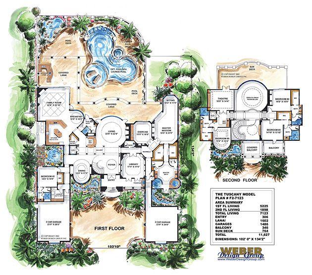 Tuscan House Plan: Luxury Mediterranean Dream Home Floor Plan ...