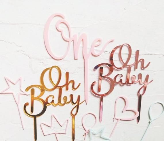 Gender Reveal Party Decorations Rose Gold Oh Baby Cake Topper Baby Shower