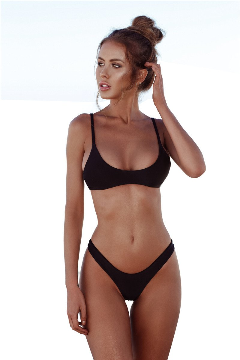 25a4770615d70 Brazilian Bikini Set Sexy Swimwear Women Solid Bathing Suit Push Up Bikini  Basic Simple Swimsuit Biquini Femme Micro Bikinis