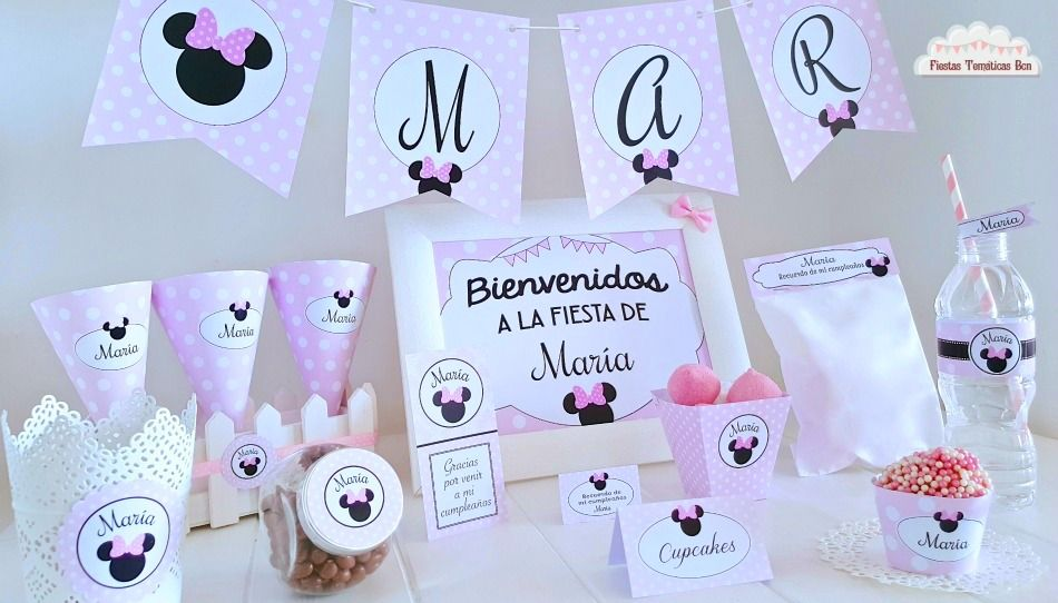KIT IMPRIMIBLE MINNIE MOUSE. CANDY BAR. DECORACION FIESTA