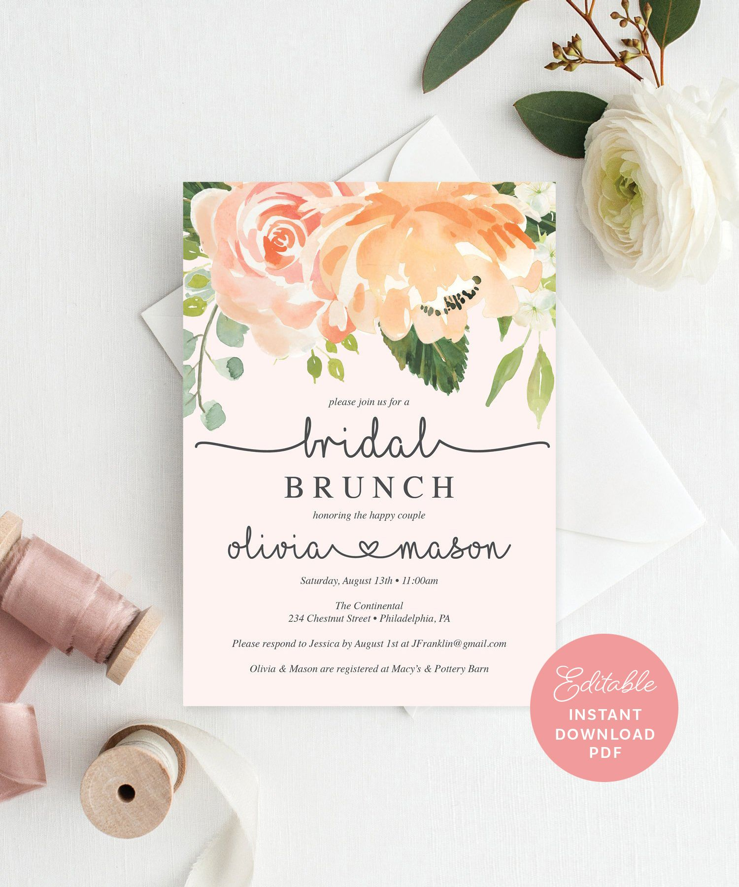 Pretty Peach Bridal Shower Invitation