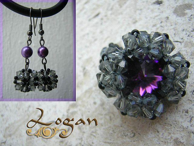 Conjunto anillo y pendientes gris-morado | Flickr - Photo Sharing!