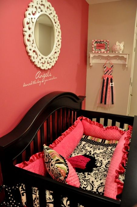 baby girl room.. LOVE the mirror!!! and overstuffed crib bumper!
