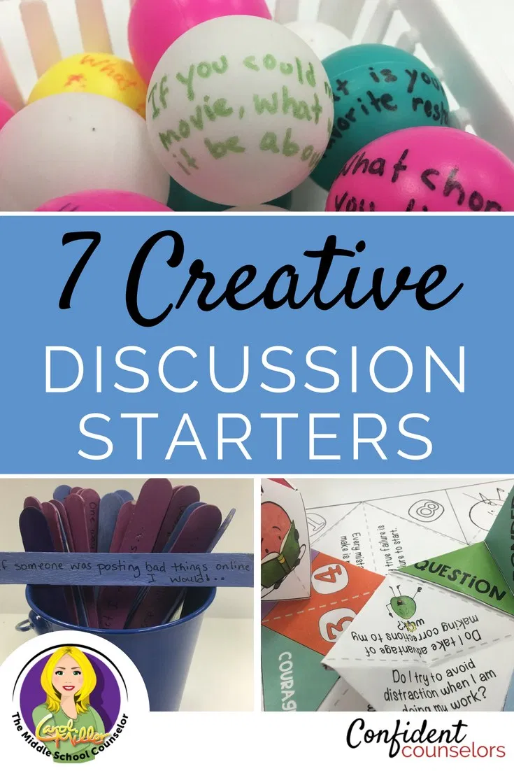 school counselors have to get creative to engage students when they begin group counseling activities. Discussion starters for group and individual counseling are a great way to get students to open up and participate meaningfully in counseling sessions. These discussion starter ideas are perfect for elementary school counseling, middle school counseling, and high school counseling.