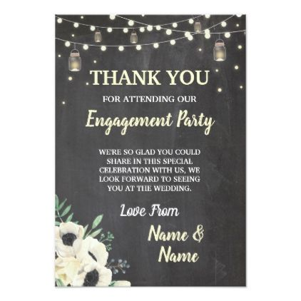 Thank You Card Engagement Fireflies Chalk Floral Party Ideas