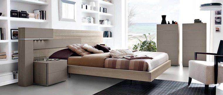 Idee arredo casa, camera da letto con parete in cartongesso e ...
