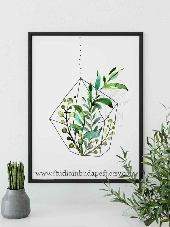 Hanging plant printable wall decoration, green leaf wall ... on Wall Sconces For Greenery Decoration id=83822