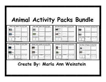 Animal Activity Packs Bundle includes 8 activity packs