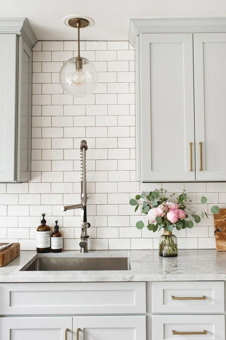 Light Grey Cabinets With Brass Gold Hardware Cabinet Pulls Handles Marble Countertop Subway Tile B In 2020 Farmhouse Kitchen Design Home Decor Kitchen Kitchen Design