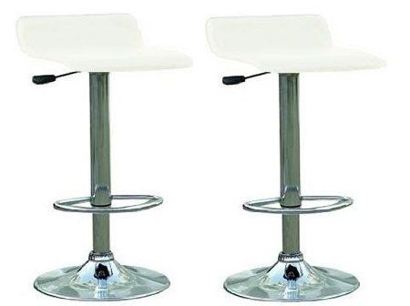 Amazon.com: Set Of 2 White & Chrome Finish Air Lift Adjustable Bar Stools: Home & Kitchen