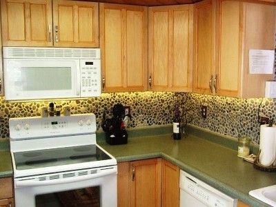 River Rock backsplash with LED Accent Lighting DIY Projects