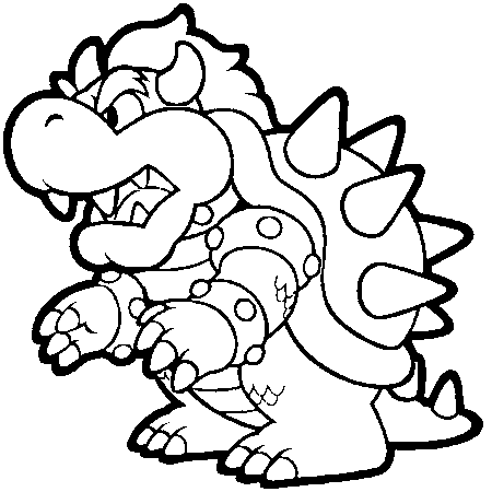 Dessin bowser a colorier Game Characters
