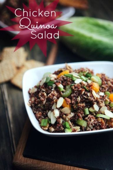 Chicken Quinoa Salad made with pure maple syrup and delicious balsamic vinegar. Full of flavor, healthy eats perfect for summer! Click through for recipe!
