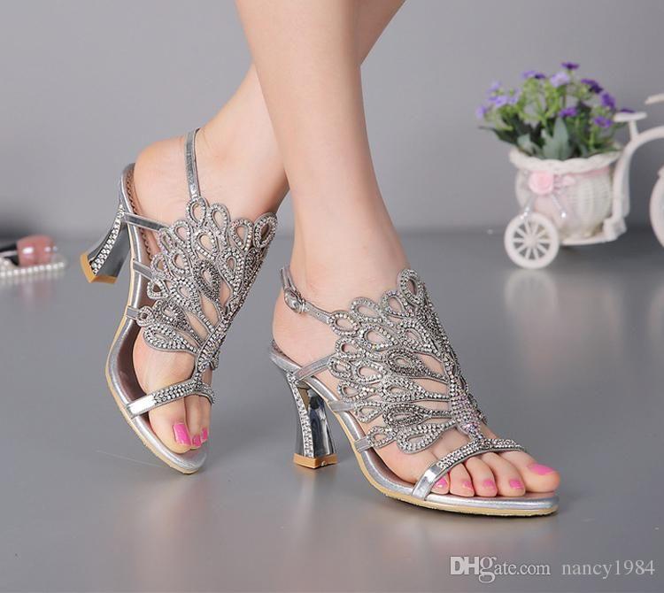 Cheap Summer New Sandals Chunky Heel Floral Silver Wedding Dress ...