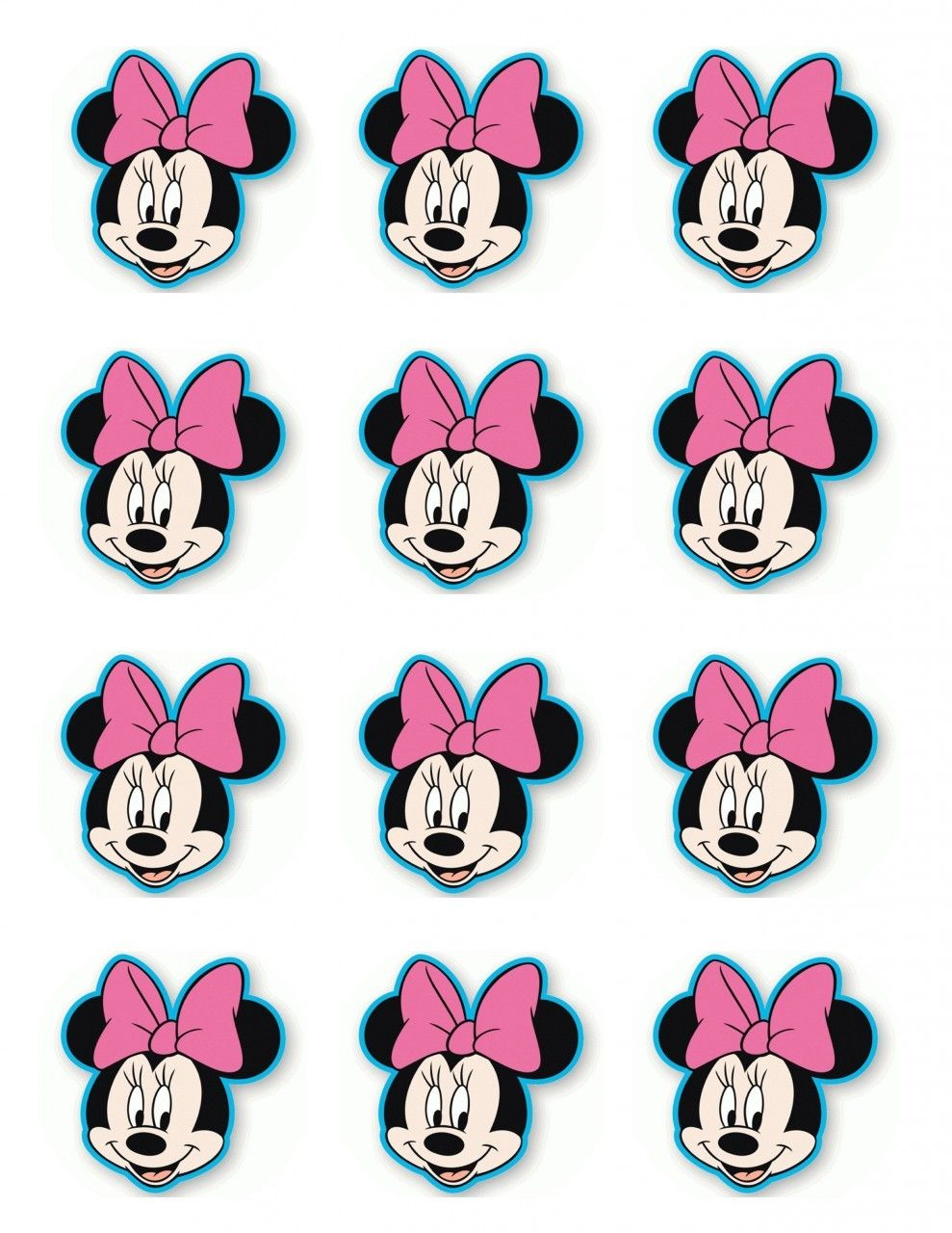 Edible Icing Cake Images For Your Special Occassions Minnie Mouse Cupcake Toppers Minnie Mouse Template Minnie Mouse Stickers