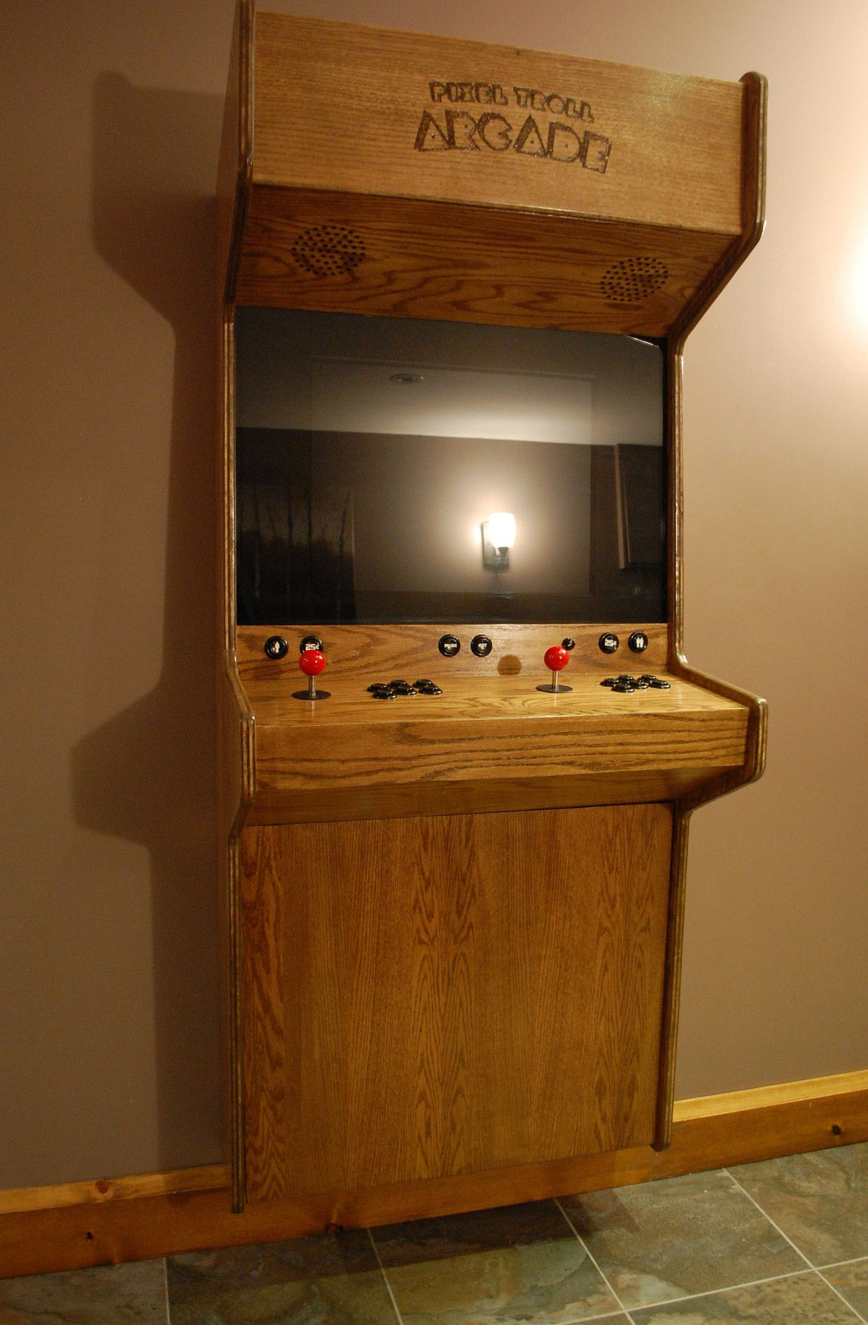 Classy Computer Tables To Go With Living Room Decor: Classy White Oak Veneer Arcade Cabinet