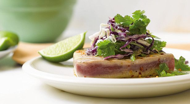 Sink your teeth into some succulent chilli tuna steaks with wasabi coleslaw