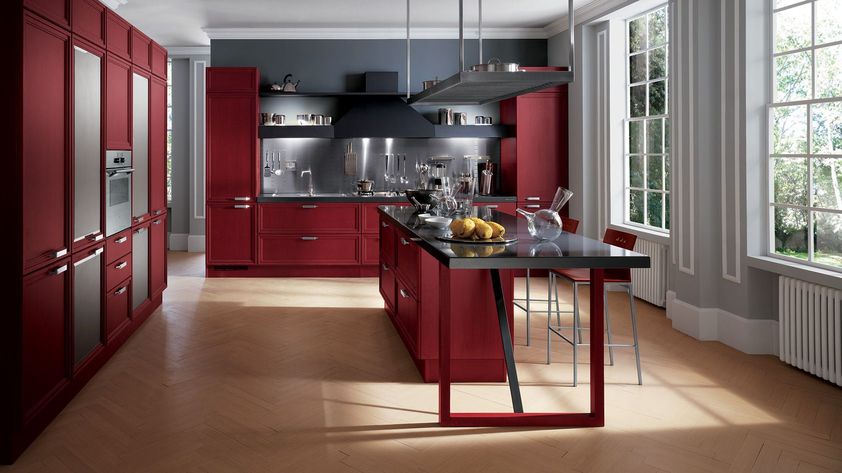Focus Kitchen by Scavolini. I find the Grey and Red combination so ...