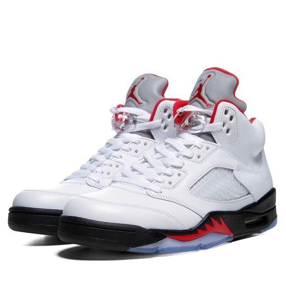on sale c91c7 1b035 Air Jordan 5 Retro White/ Fire-Red Black Sneakers Air Jordan ...