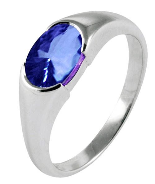 Sparkling 2 carat Oval 'AAA' tanzanite solitaire wedding ring gold jewelry
